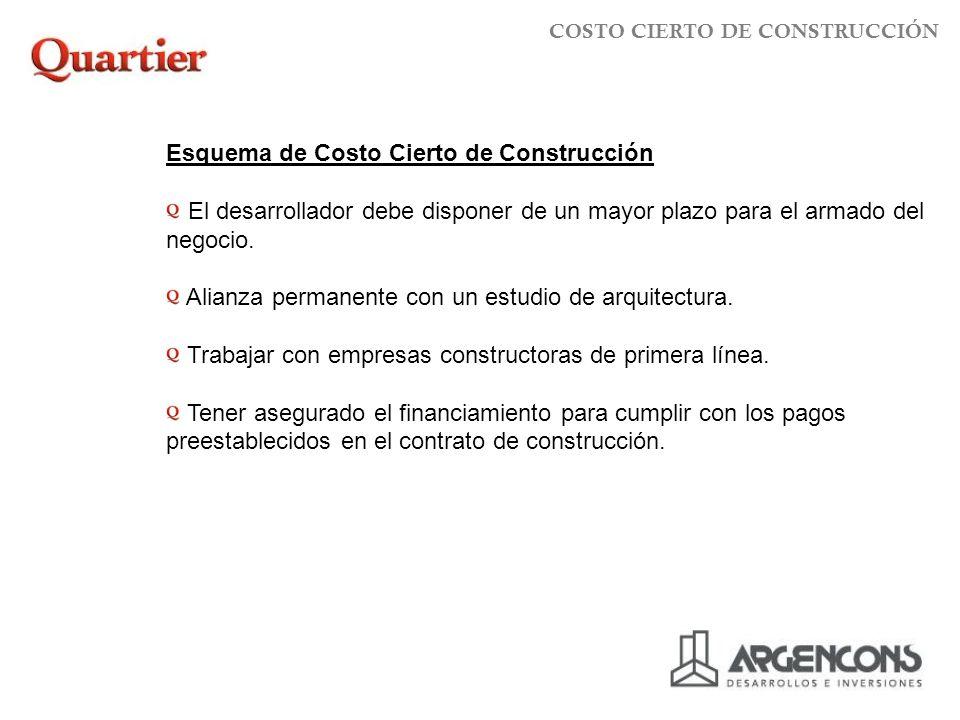 Esquema de Costo Cierto de Construcción El desarrollador debe disponer de un mayor plazo para el armado del negocio.