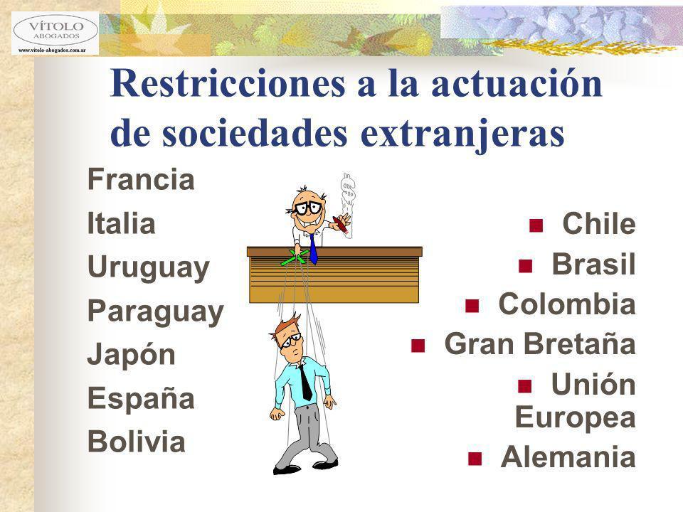 Restricciones a la actuación de sociedades extranjeras Francia Italia Uruguay Paraguay Japón España Bolivia Chile Brasil Colombia Gran Bretaña Unión E
