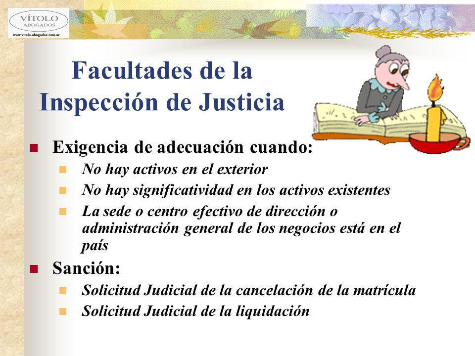 Facultades de la Inspección de Justicia Exigencia de adecuación cuando: No hay activos en el exterior No hay significatividad en los activos existente