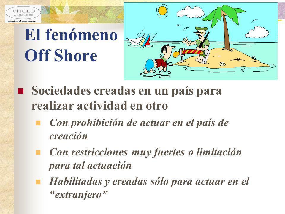 El fenómeno Off Shore Sociedades creadas en un país para realizar actividad en otro Con prohibición de actuar en el país de creación Con restricciones