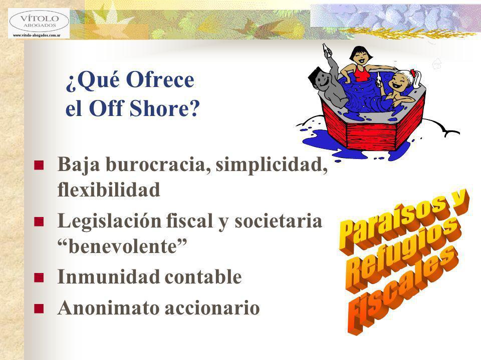 ¿Qué Ofrece el Off Shore? Baja burocracia, simplicidad, flexibilidad Legislación fiscal y societaria benevolente Inmunidad contable Anonimato accionar