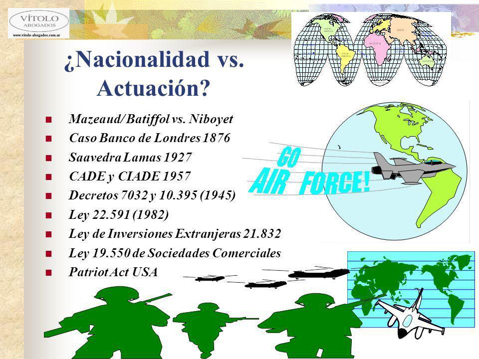 ¿Nacionalidad vs. Actuación? Mazeaud/ Batiffol vs. Niboyet Caso Banco de Londres 1876 Saavedra Lamas 1927 CADE y CIADE 1957 Decretos 7032 y 10.395 (19