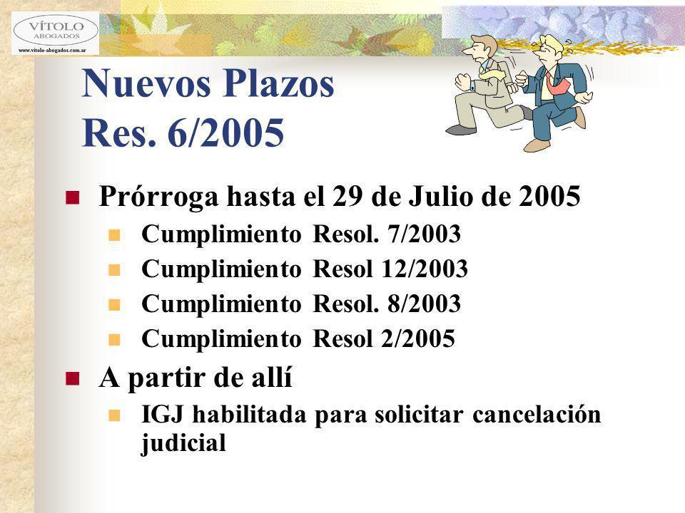 Nuevos Plazos Res. 6/2005 Prórroga hasta el 29 de Julio de 2005 Cumplimiento Resol. 7/2003 Cumplimiento Resol 12/2003 Cumplimiento Resol. 8/2003 Cumpl