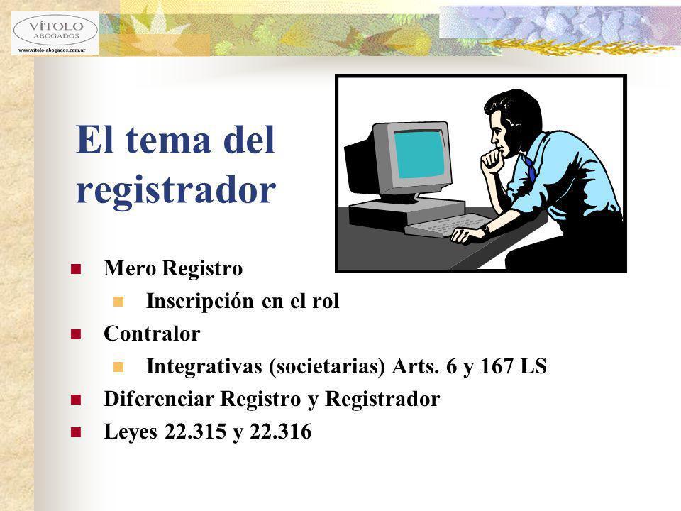 El tema del registrador Mero Registro Inscripción en el rol Contralor Integrativas (societarias) Arts. 6 y 167 LS Diferenciar Registro y Registrador L