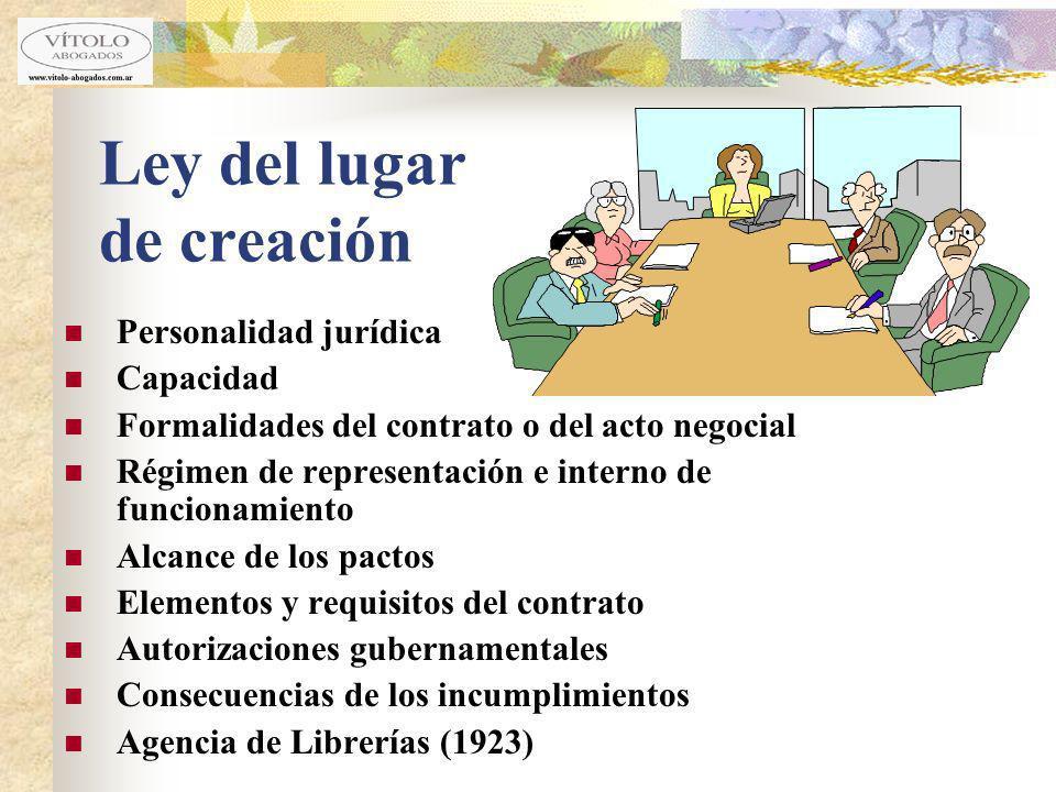 Ley del lugar de creación Personalidad jurídica Capacidad Formalidades del contrato o del acto negocial Régimen de representación e interno de funcion