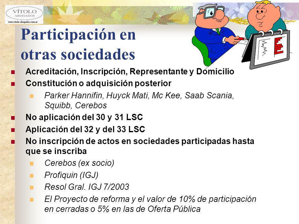 Participación en otras sociedades Acreditación, Inscripción, Representante y Domicilio Constitución o adquisición posterior Parker Hannifin, Huyck Mat