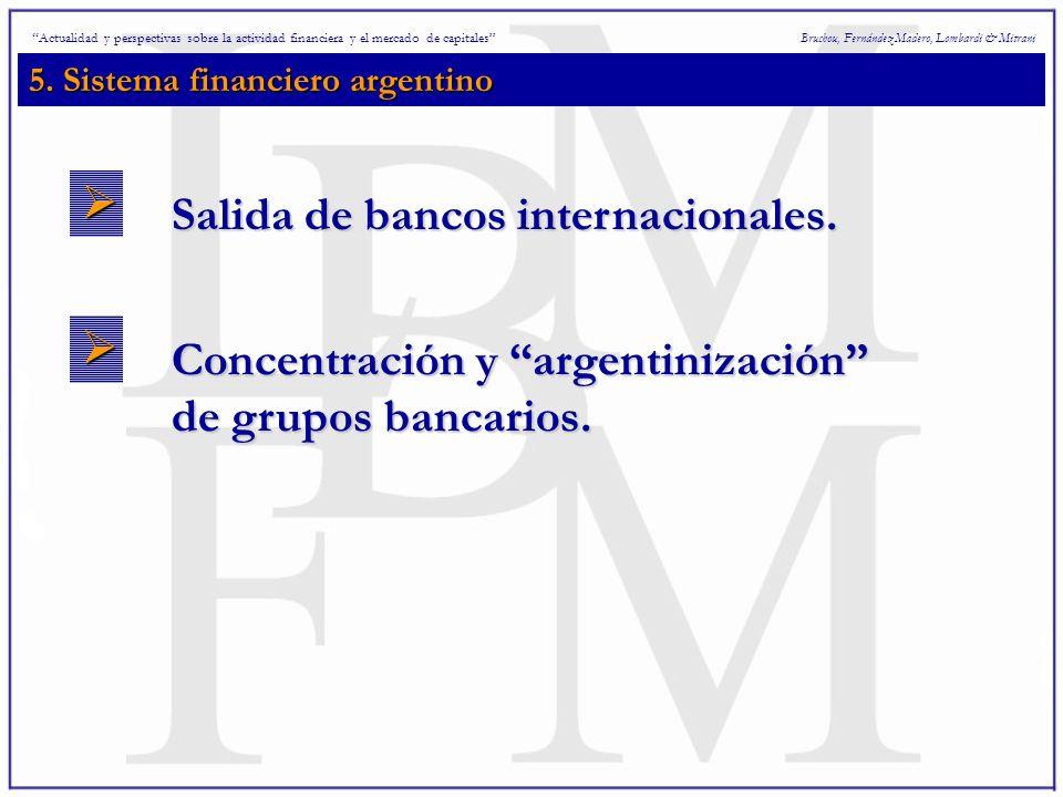 5. Sistema financiero argentino Bruchou, Fernández Madero, Lombardi & Mitrani Salida de bancos internacionales. Concentración y argentinización de gru