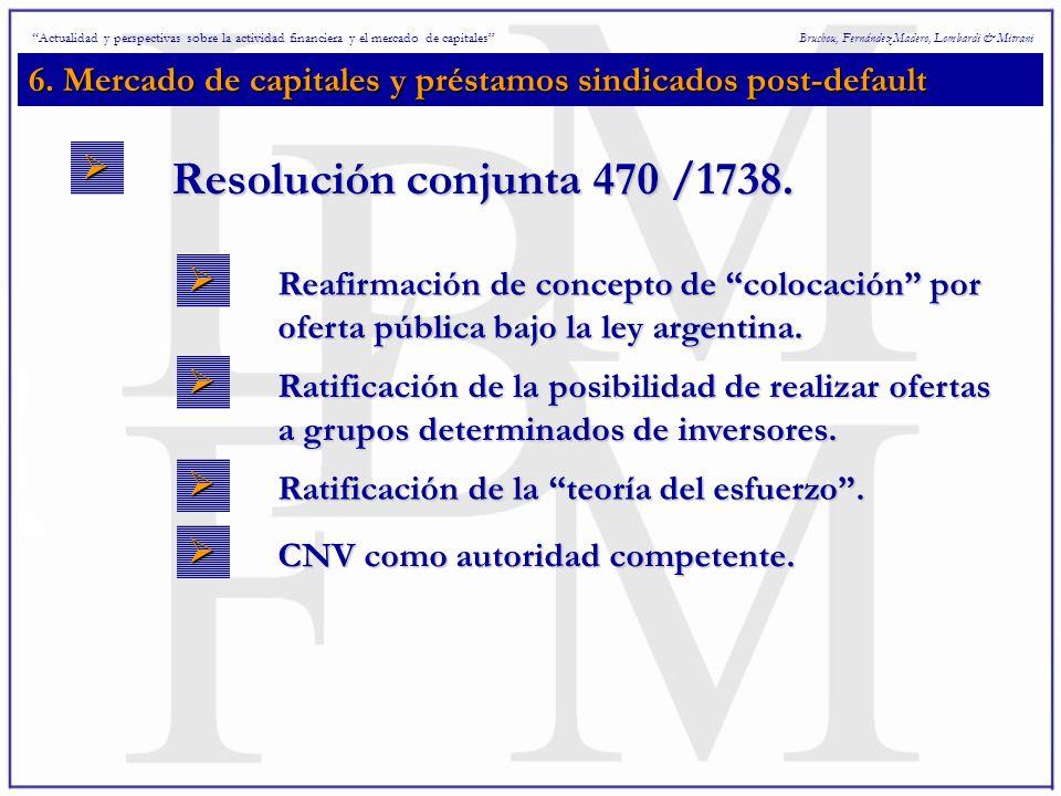 6. Mercado de capitales y préstamos sindicados post-default Bruchou, Fernández Madero, Lombardi & Mitrani Actualidad y perspectivas sobre la actividad