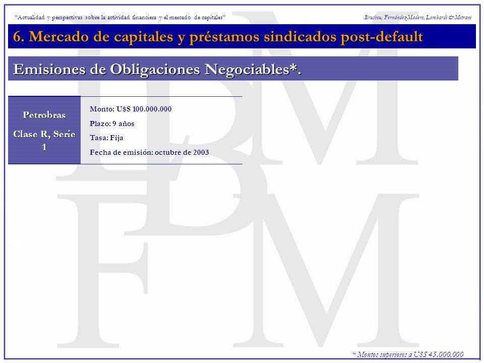 6. Mercado de capitales y préstamos sindicados post-default Bruchou, Fernández Madero, Lombardi & MitraniPetrobras Clase R, Serie 1 Monto: U$S 100.000
