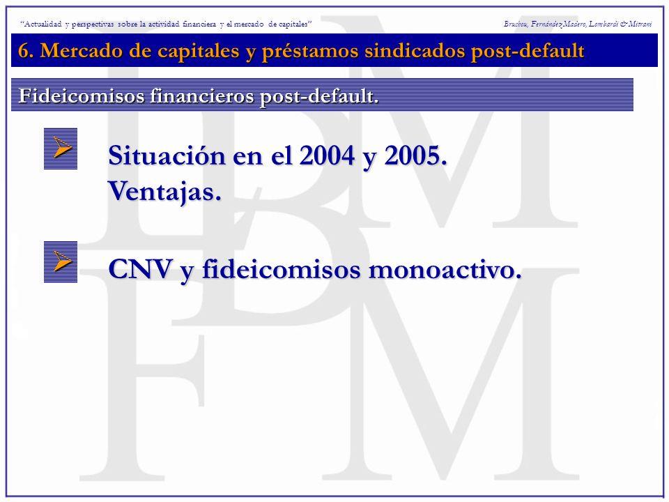 6. Mercado de capitales y préstamos sindicados post-default Bruchou, Fernández Madero, Lombardi & Mitrani Situación en el 2004 y 2005. Ventajas. CNV y