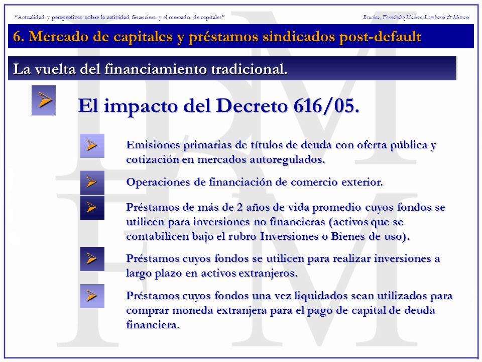 6. Mercado de capitales y préstamos sindicados post-default Bruchou, Fernández Madero, Lombardi & Mitrani El impacto del Decreto 616/05. Actualidad y