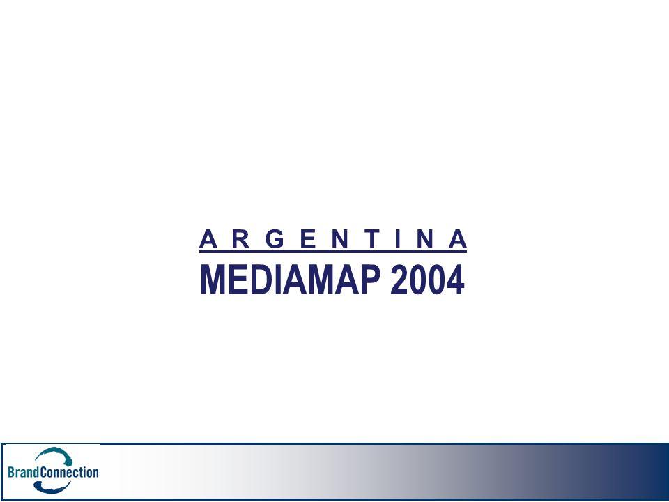 A R G E N T I N A MEDIAMAP 2004 En 1999 la cantidad de salas disponibles para su comercialización aumentó en un 5% respecto de 1998.