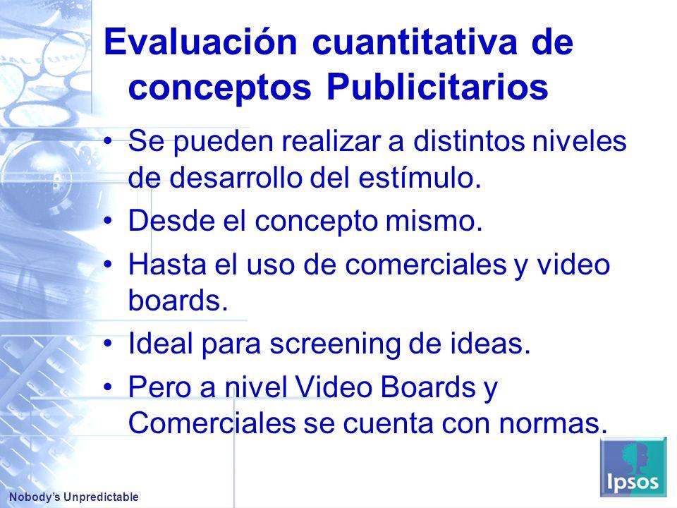 Nobodys Unpredictable Evaluación cuantitativa de conceptos Publicitarios Se pueden realizar a distintos niveles de desarrollo del estímulo.