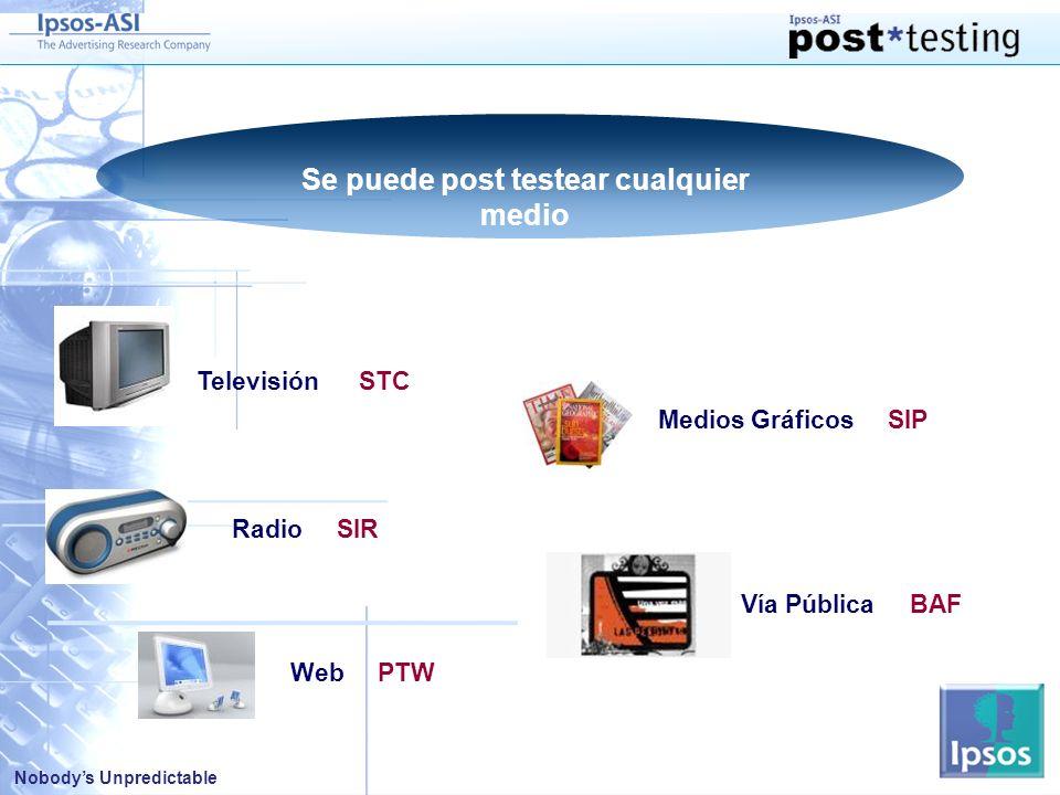 Nobodys Unpredictable Web PTW Se puede post testear cualquier medio Televisión STC Radio SIR Medios Gráficos SIP Vía Pública BAF