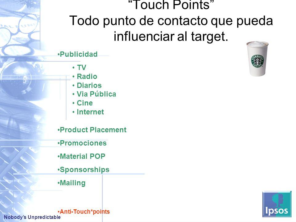 Nobodys Unpredictable Publicidad TV Radio Diarios Via Pública Cine Internet Product Placement Promociones Material POP Sponsorships Mailing Touch Points Todo punto de contacto que pueda influenciar al target.