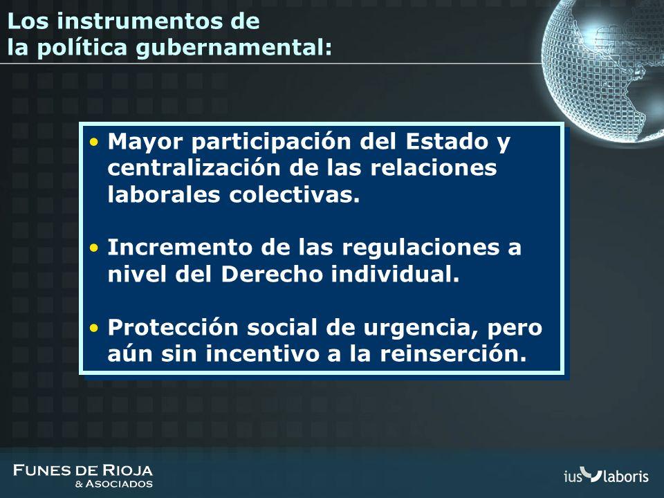 Los instrumentos de la política gubernamental: Mayor participación del Estado y centralización de las relaciones laborales colectivas. Incremento de l