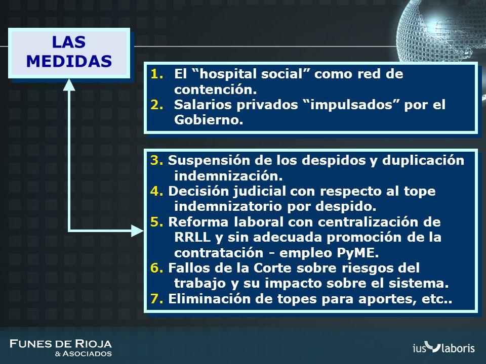 1.El hospital social como red de contención. 2.Salarios privados impulsados por el Gobierno. 1.El hospital social como red de contención. 2.Salarios p