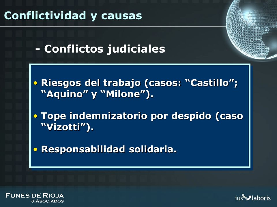 - Conflictos judiciales Riesgos del trabajo (casos: Castillo; Aquino y Milone).Riesgos del trabajo (casos: Castillo; Aquino y Milone). Tope indemnizat