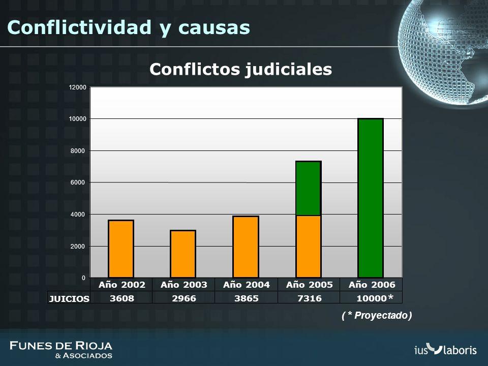 Conflictos judiciales * ( * Proyectado ) 0 2000 4000 6000 8000 10000 12000 JUICIOS 360829663865731610000 Año 2002Año 2003Año 2004Año 2005Año 2006 Conf
