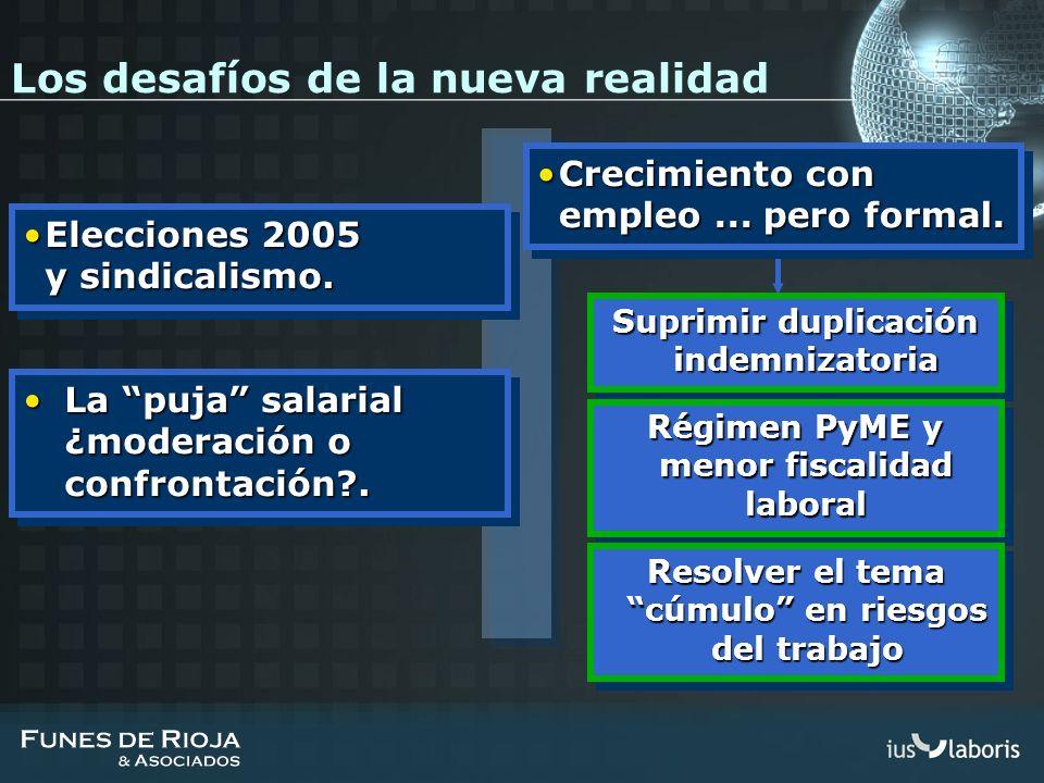 Suprimir duplicación indemnizatoria Régimen PyME y menor fiscalidad laboral Resolver el tema cúmulo en riesgos del trabajo Elecciones 2005 y sindicali
