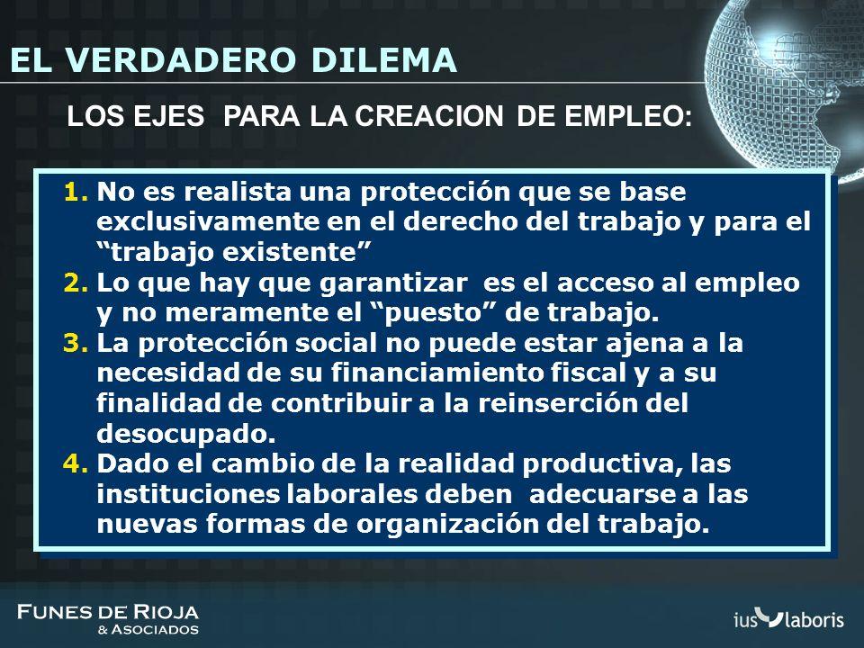 1.No es realista una protección que se base exclusivamente en el derecho del trabajo y para el trabajo existente 2.Lo que hay que garantizar es el acc