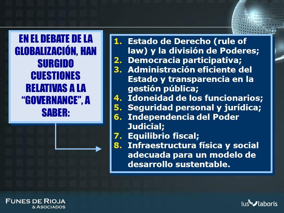1.Estado de Derecho (rule of law) y la división de Poderes; 2.Democracia participativa; 3.Administración eficiente del Estado y transparencia en la ge