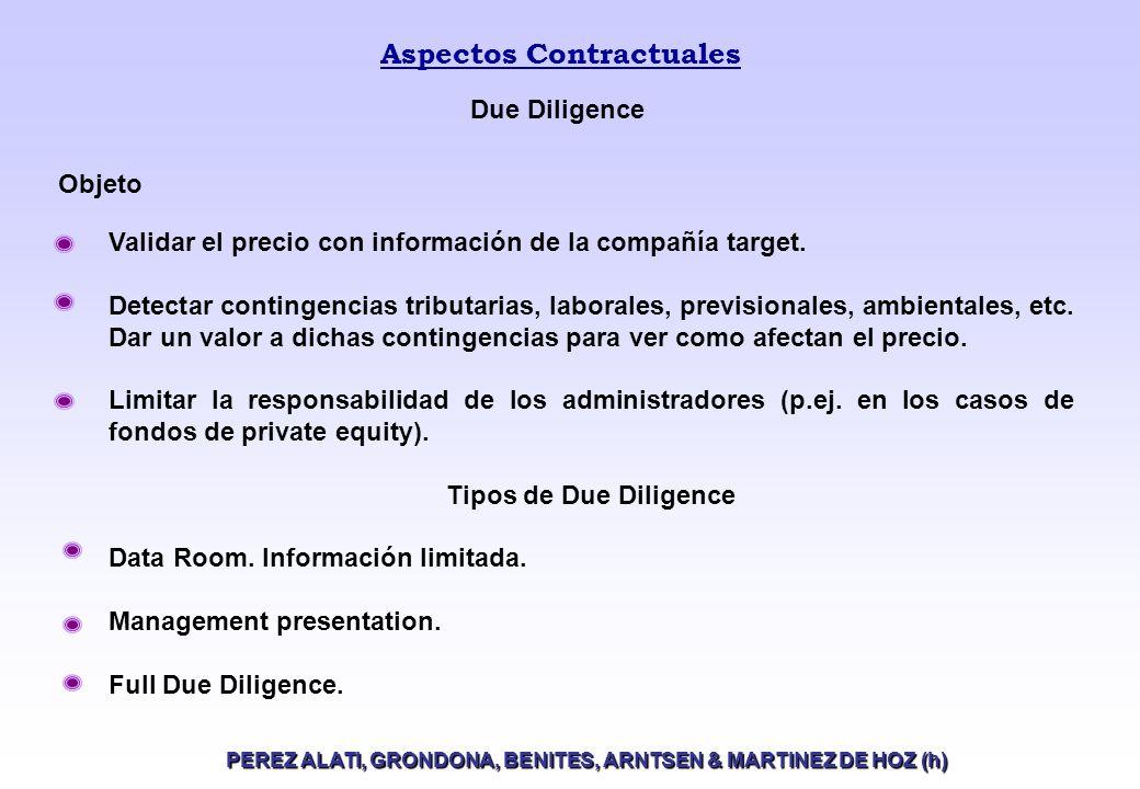 Aspectos Contractuales PEREZ ALATI, GRONDONA, BENITES, ARNTSEN & MARTINEZ DE HOZ (h) Validar el precio con información de la compañía target.