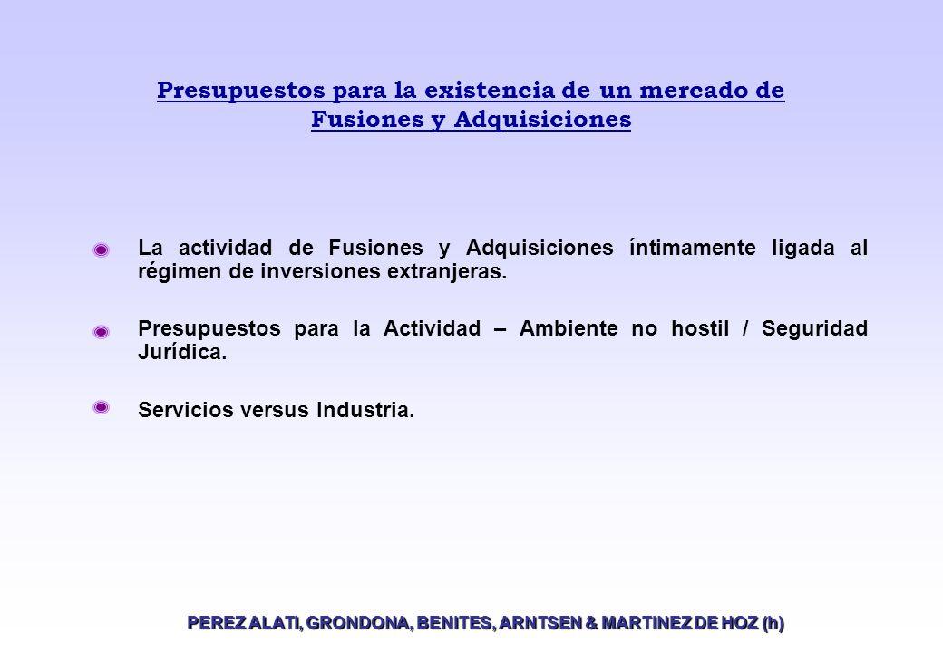 Presupuestos para la existencia de un mercado de Fusiones y Adquisiciones La actividad de Fusiones y Adquisiciones íntimamente ligada al régimen de inversiones extranjeras.