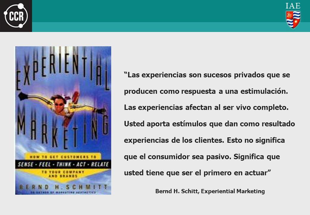 Las experiencias son sucesos privados que se producen como respuesta a una estimulación. Las experiencias afectan al ser vivo completo. Usted aporta e