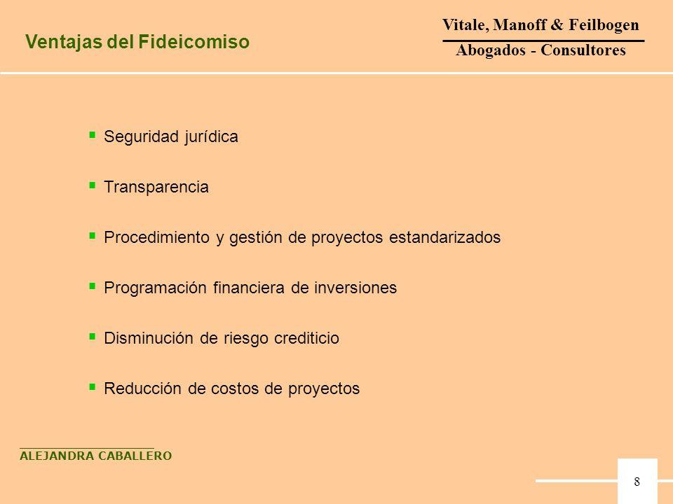 Seguridad jurídica Transparencia Procedimiento y gestión de proyectos estandarizados Programación financiera de inversiones Disminución de riesgo cred