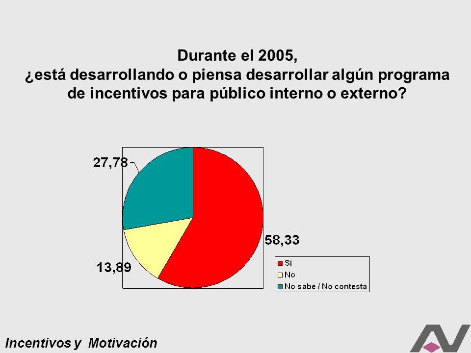 Incentivos y Motivación Durante el 2005, ¿está desarrollando o piensa desarrollar algún programa de incentivos para público interno o externo