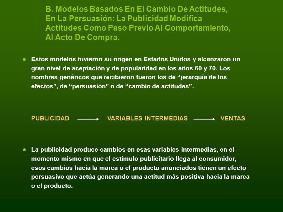 B. Modelos Basados En El Cambio De Actitudes, En La Persuasión: La Publicidad Modifica Actitudes Como Paso Previo Al Comportamiento, Al Acto De Compra