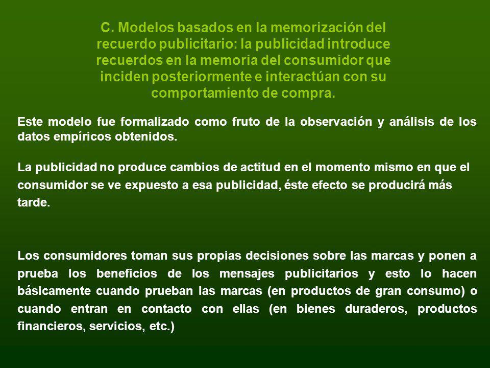 C. Modelos basados en la memorización del recuerdo publicitario: la publicidad introduce recuerdos en la memoria del consumidor que inciden posteriorm