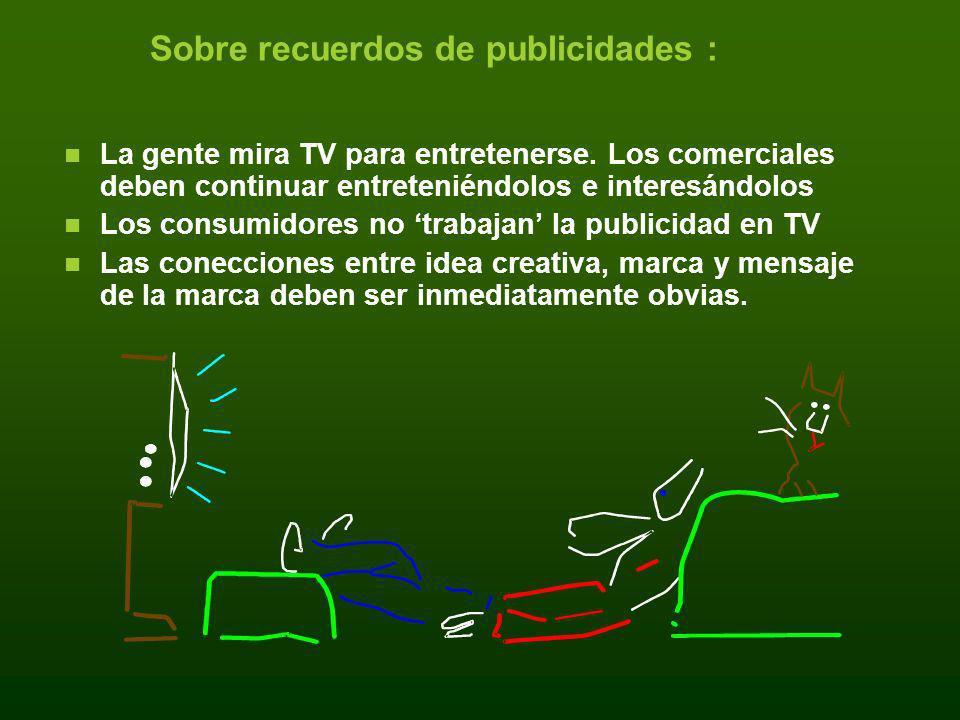 Sobre recuerdos de publicidades : La gente mira TV para entretenerse. Los comerciales deben continuar entreteniéndolos e interesándolos Los consumidor