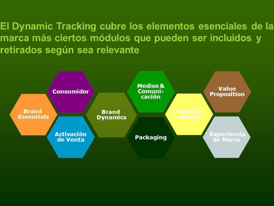 El Dynamic Tracking cubre los elementos esenciales de la marca más ciertos módulos que pueden ser incluidos y retirados según sea relevante Brand Esse