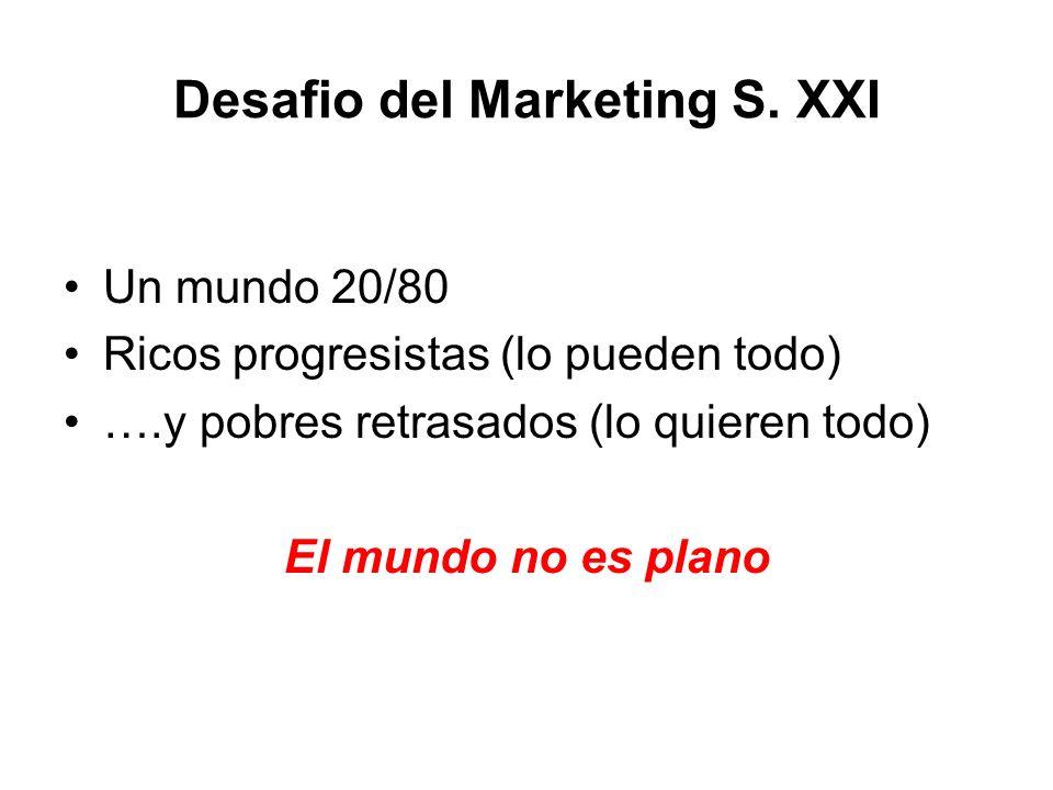 Desafio del Marketing S. XXI Un mundo 20/80 Ricos progresistas (lo pueden todo) ….y pobres retrasados (lo quieren todo) El mundo no es plano