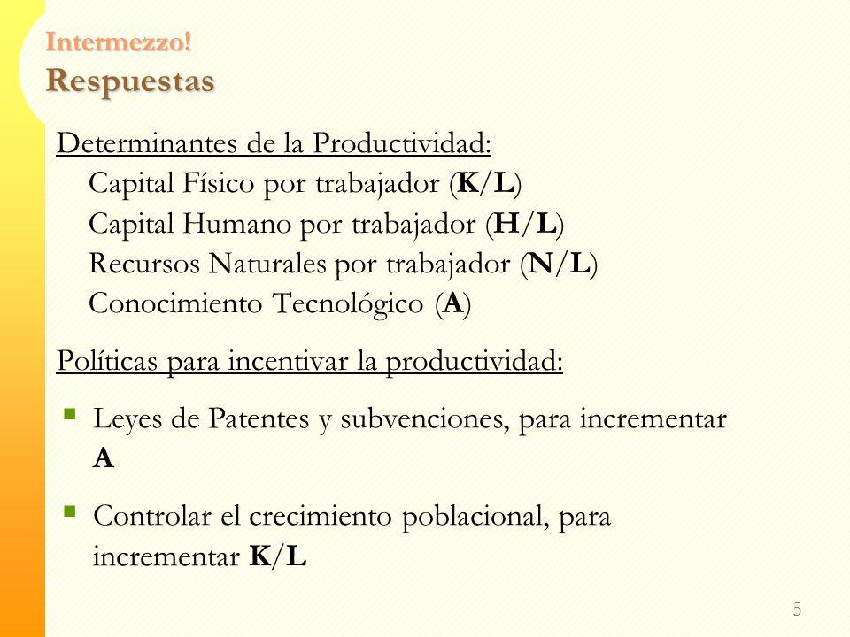 Intermezzo! Respuestas 4 Determinantes de la Productividad: Capital Físico por trabajador (K/L) Capital Humano por trabajador (H/L) Recursos Naturales