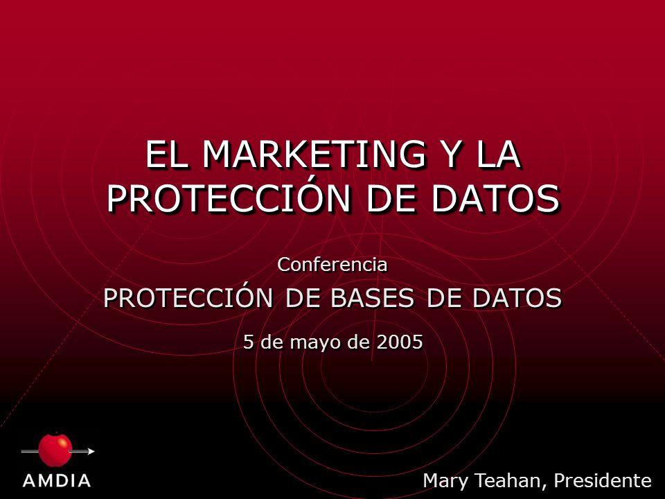 EL MARKETING Y LA PROTECCIÓN DE DATOS Conferencia PROTECCIÓN DE BASES DE DATOS 5 de mayo de 2005 Conferencia PROTECCIÓN DE BASES DE DATOS 5 de mayo de 2005 Mary Teahan, Presidente