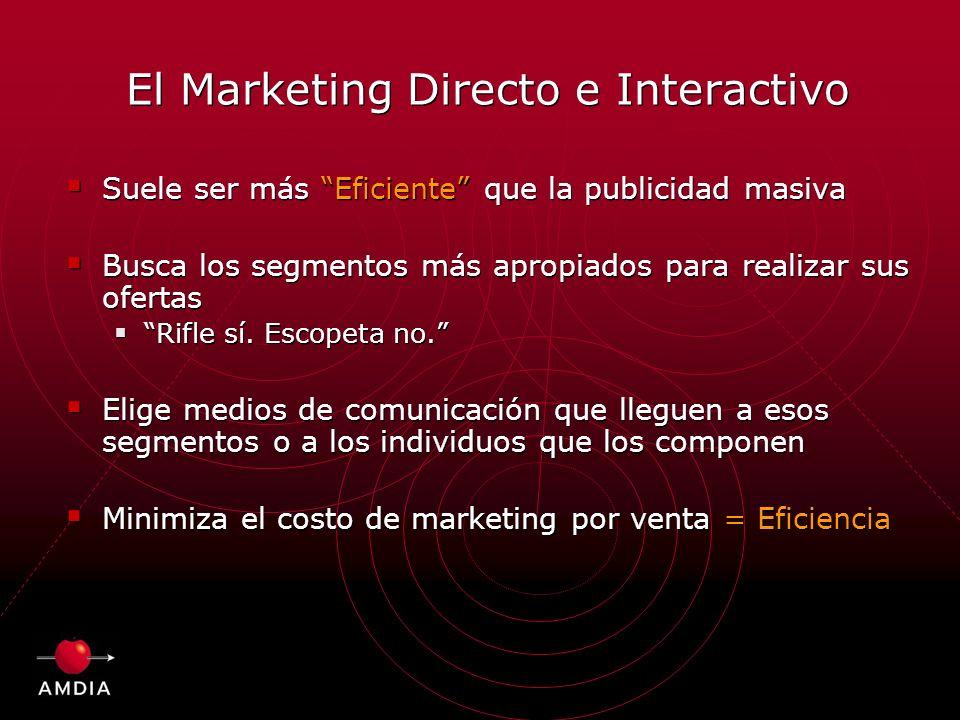El Marketing Directo e Interactivo Suele ser más Eficiente que la publicidad masiva Busca los segmentos más apropiados para realizar sus ofertas Rifle sí.