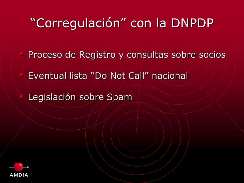 Corregulación con la DNPDP Proceso de Registro y consultas sobre socios Eventual lista Do Not Call nacional Legislación sobre Spam Proceso de Registro y consultas sobre socios Eventual lista Do Not Call nacional Legislación sobre Spam