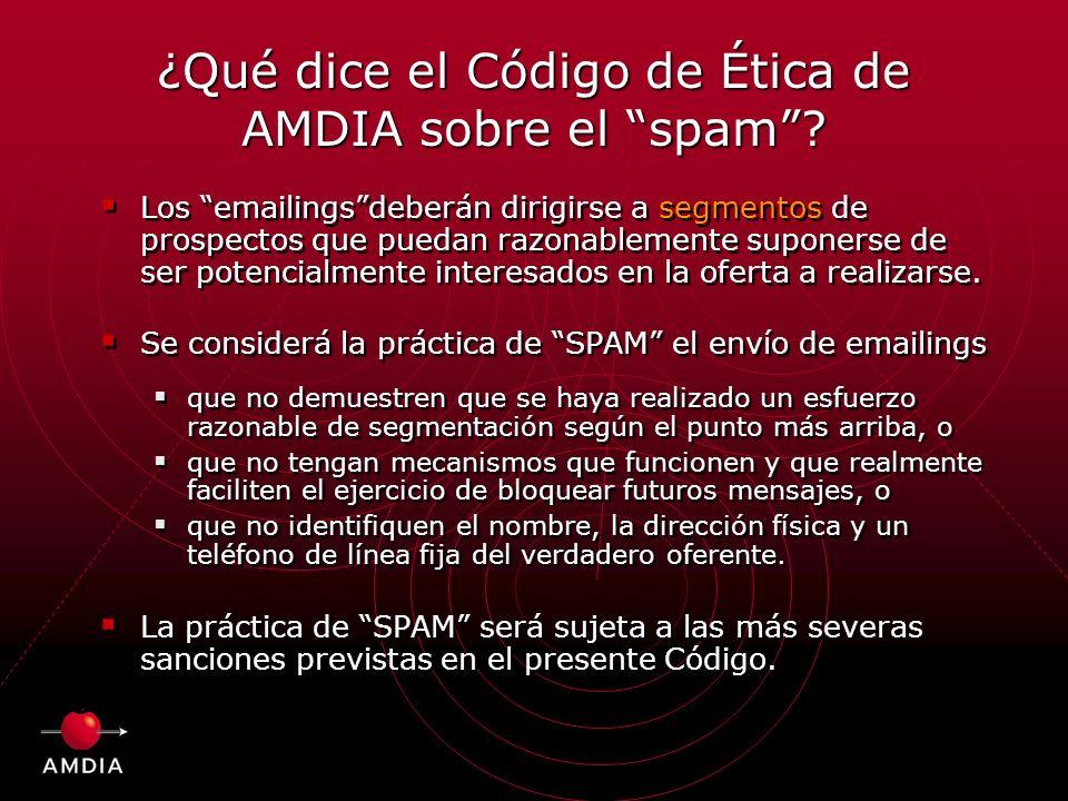 ¿Qué dice el Código de Ética de AMDIA sobre el spam.