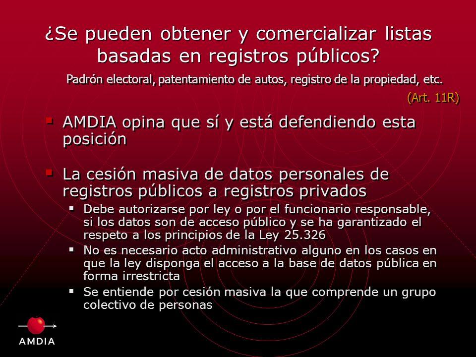 ¿Se pueden obtener y comercializar listas basadas en registros públicos.