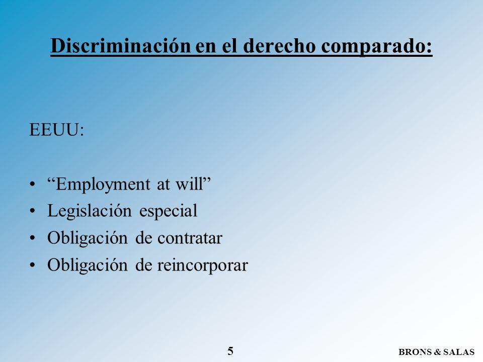 BRONS & SALAS 5 Discriminación en el derecho comparado: EEUU: Employment at will Legislación especial Obligación de contratar Obligación de reincorpor