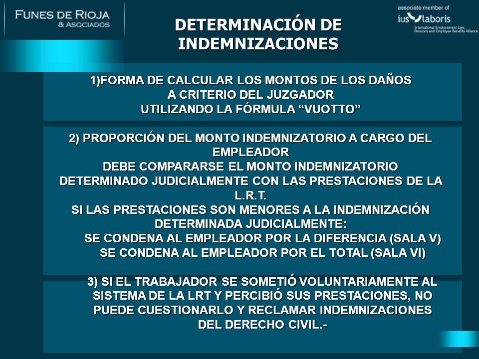 1)FORMA DE CALCULAR LOS MONTOS DE LOS DAÑOS A CRITERIO DEL JUZGADOR UTILIZANDO LA FÓRMULA VUOTTO 2) PROPORCIÓN DEL MONTO INDEMNIZATORIO A CARGO DEL EMPLEADOR DEBE COMPARARSE EL MONTO INDEMNIZATORIO DETERMINADO JUDICIALMENTE CON LAS PRESTACIONES DE LA L.R.T.