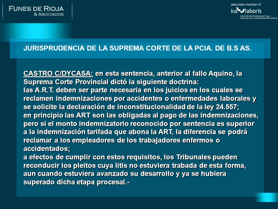 JURISPRUDENCIA DE LA SUPREMA CORTE DE LA PCIA. DE B.S AS.