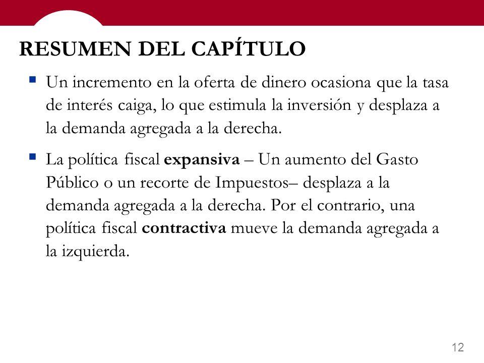 11 RESUMEN DEL CAPÍTULO En la teoría de preferencia por la liquidez, el tipo de interés se ajusta para equiparar la demanda con la oferta de dinero. E