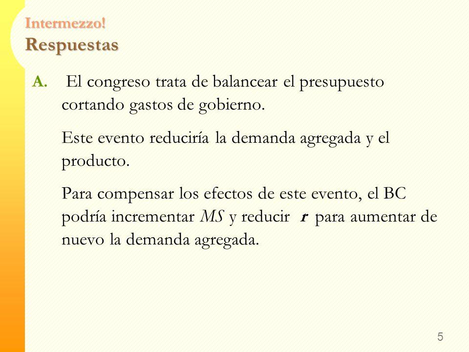 Intermezzo! Ejercicio Para cada uno de los siguientes eventos, -Determine el efecto de Corto Plazo en el producto -Determine de qué manera podría el B