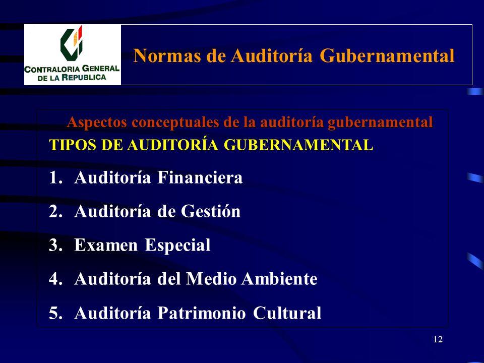 11 Proceso de la Auditoría Gubernamental Comprende las siguientes etapas: 1.PLANIFICACIÓN 2.EJECUCIÓN 3.ELABORACION DEL INFORME Aspectos conceptuales