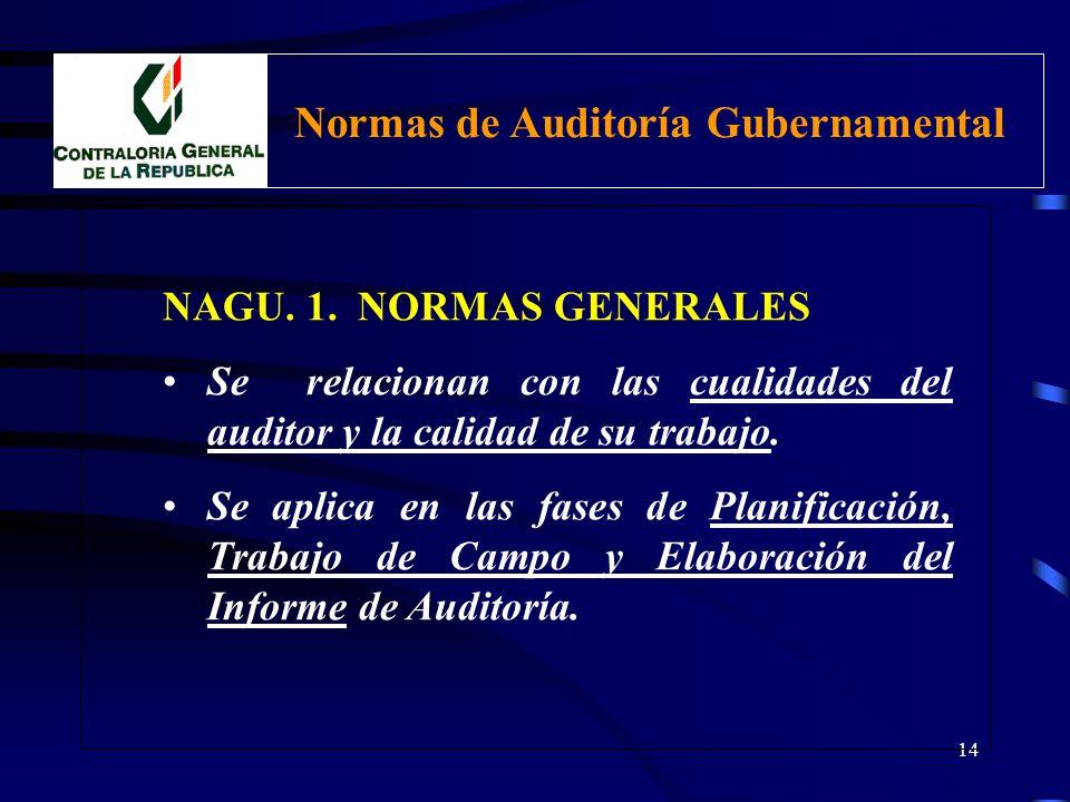 13 CLASIFICACIÓN NAGU. 1. Generales NAGU. 2. Relativas a la Planificación de la Auditoría NAGU. 3. Relativas a la Ejecución de la Auditoría NAGU. 4. R