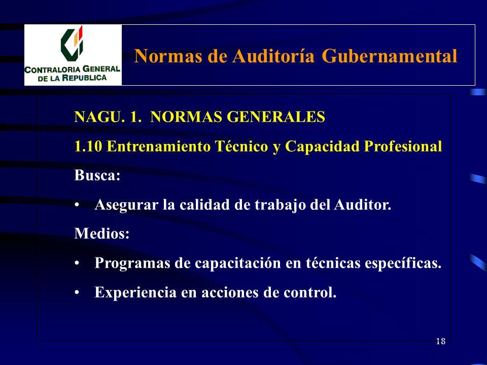 17 NAGU. 1. NORMAS GENERALES 1.10 Entrenamiento Técnico y Capacidad Profesional CAPACIDAD PROFESIONAL Comprende: Nivel de idoneidad y habilidad profes